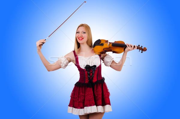 Lány játszik hegedű fehér fa koncert Stock fotó © Elnur