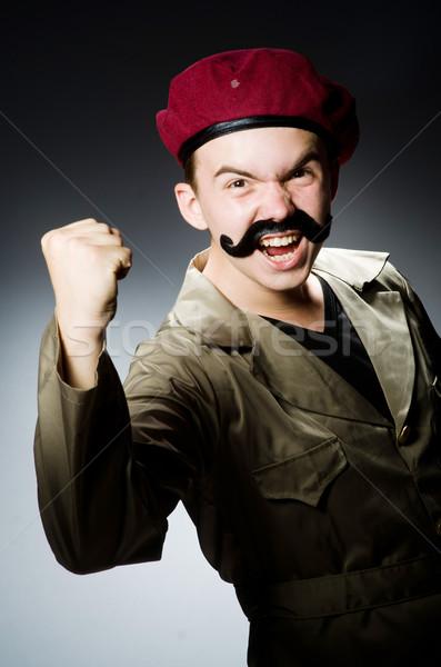 Funny soldado militar hombre fondo seguridad Foto stock © Elnur