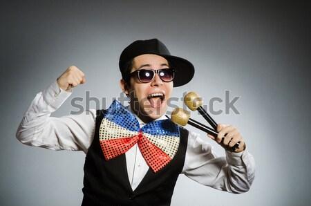Funny człowiek topór biały biuro uśmiech Zdjęcia stock © Elnur