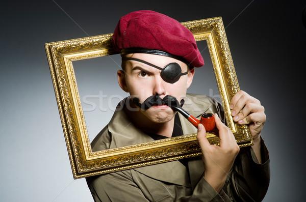 Funny żołnierz wojskowych człowiek ramki zielone Zdjęcia stock © Elnur