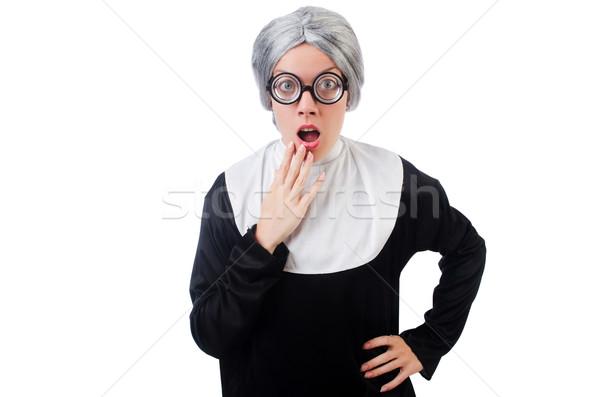 Comic nun isolated on white Stock photo © Elnur
