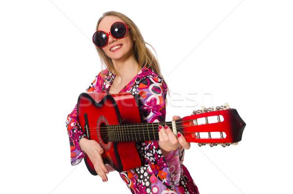 Nő gitáros izolált fehér zene buli Stock fotó © Elnur