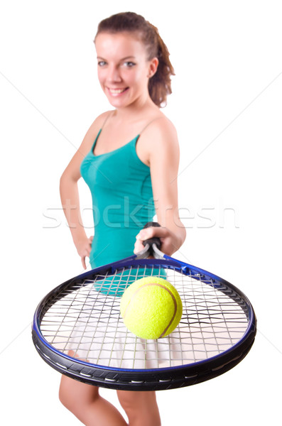 Stock photo: Woman tennis player isolated on white
