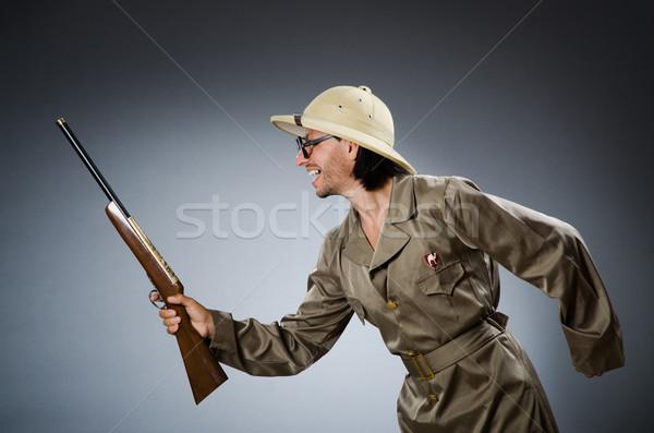 Komik safari avcı adam oyun Stok fotoğraf © Elnur