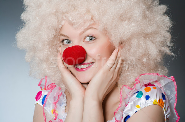 Clown blanche perruque gris sourire anniversaire Photo stock © Elnur