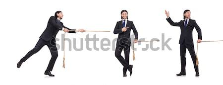 Two men figthing with the sword isolated on white Stock photo © Elnur
