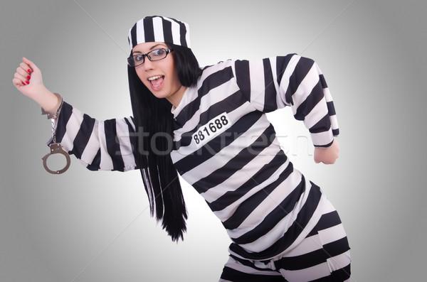 Gevangene gestreept uniform witte vrouw metaal Stockfoto © Elnur