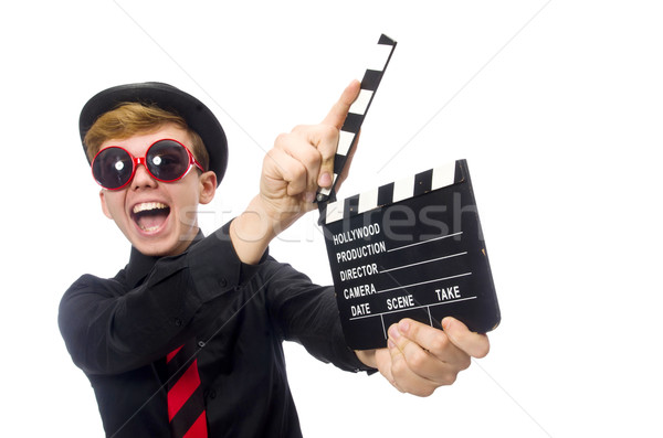 Positive boy with clapper board isolated on white Stock photo © Elnur