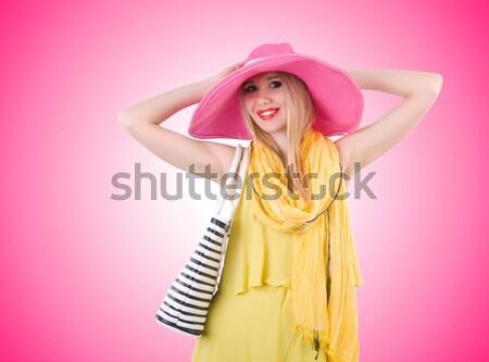 Nő divat ruházat szépség kalap stúdió Stock fotó © Elnur