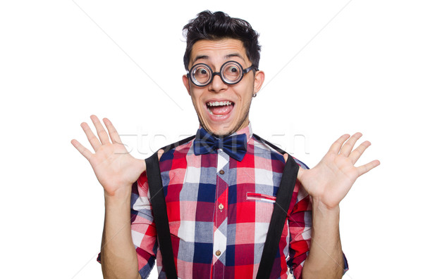 Young man in plaid shirt isolated on white Stock photo © Elnur