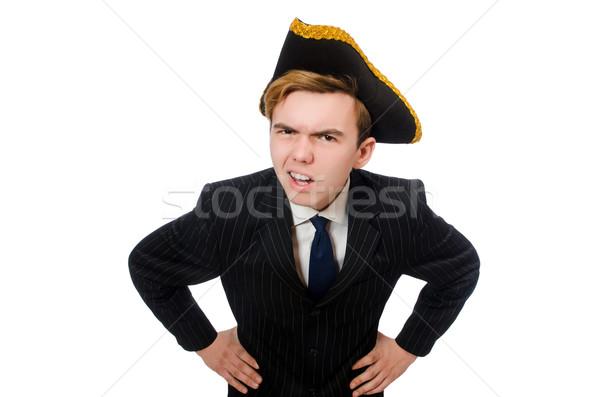 Junger Mann Kostüm Piraten hat isoliert weiß Stock foto © Elnur