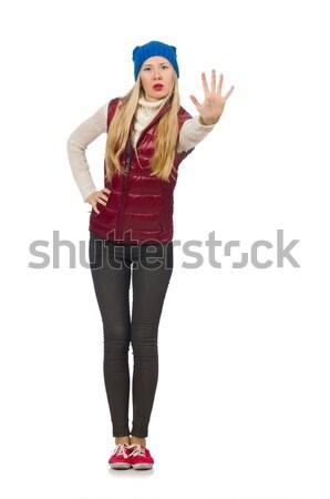 Szőke haj lány mellény izolált fehér Stock fotó © Elnur