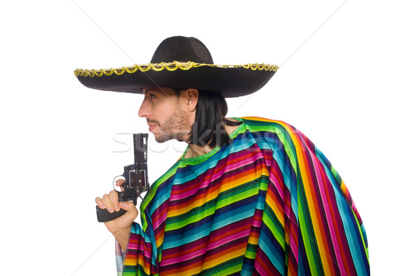 Handsome man in vivid poncho holding gun isolated on white Stock photo © Elnur