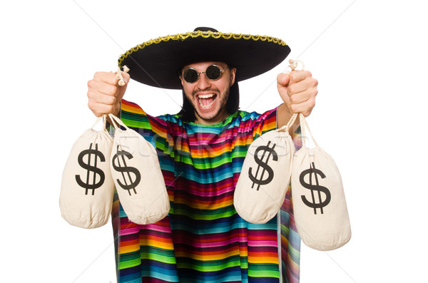Handsome man in vivid poncho holding money bags isolated on white Stock photo © Elnur