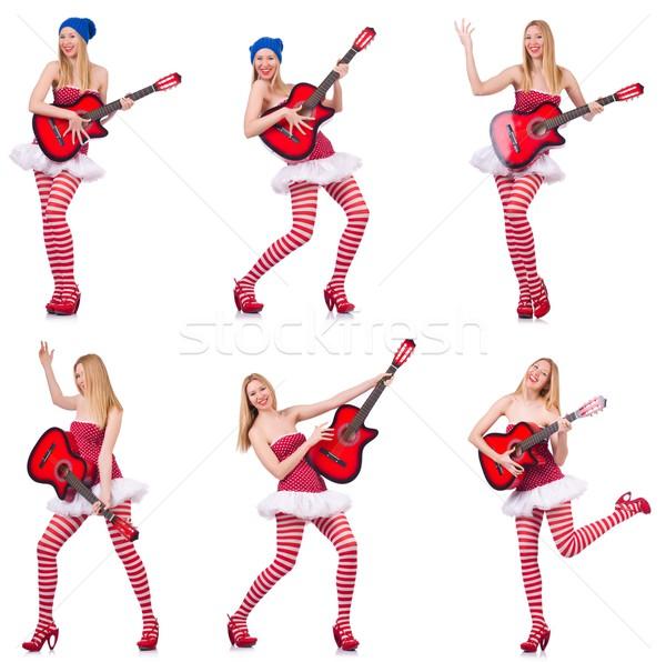 Stock fotó: Fiatal · gitáros · izolált · fehér · buli · gitár