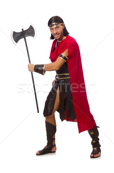 ストックフォト: 剣闘士 · 孤立した · 白 · 男 · 面白い