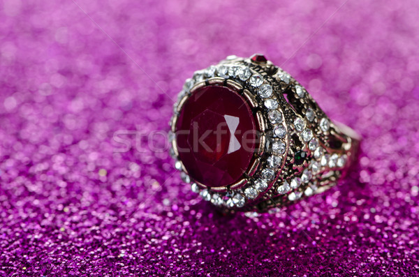 Jewellery ring against shiny background Stock photo © Elnur