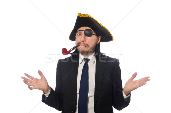 Pirate businessman with smoking pipe isolated on white Stock photo © Elnur