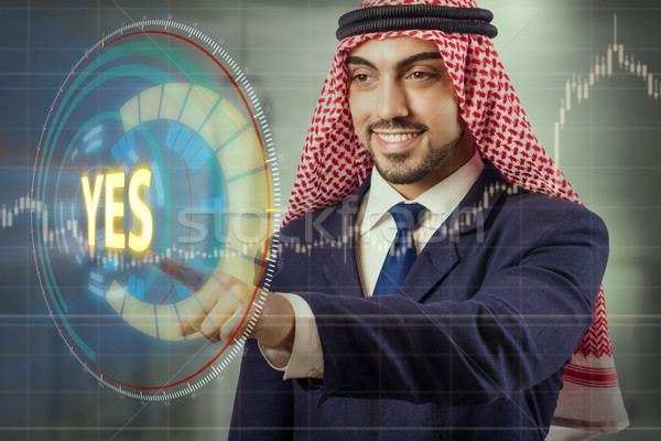 Arab man pressing yes button Stock photo © Elnur