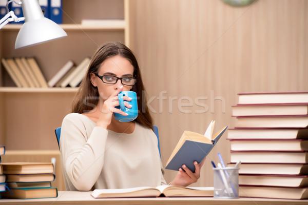 Fiatal diák egyetem vizsgák lány kávé Stock fotó © Elnur