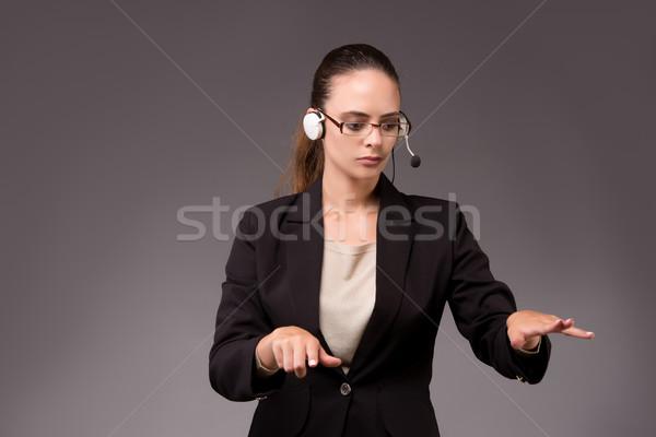Stock fotó: Fiatal · nő · üzletasszony · kisajtolás · virtuális · gombok · üzlet