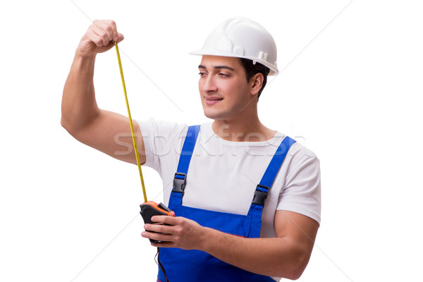 Foto stock: Homem · fita · métrica · isolado · homem · branco · branco · construção