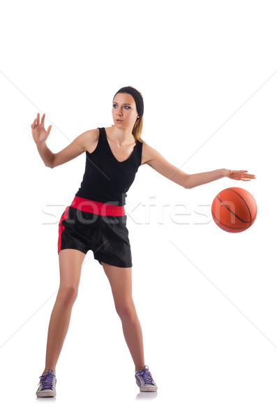 Woman playing basketball isolated on white Stock photo © Elnur