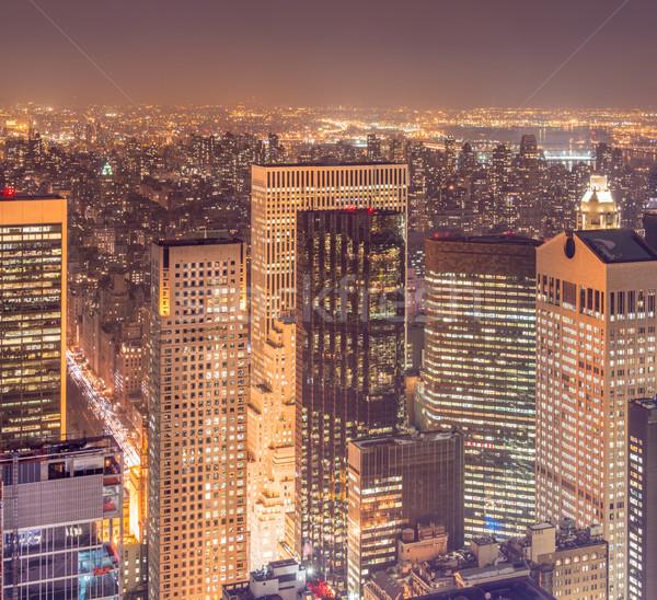 View of New York Manhattan during sunset hours Stock photo © Elnur