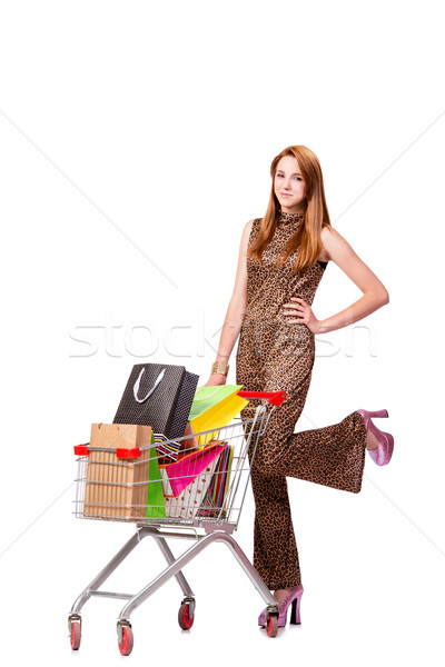 The woman with shopping cart and bags isolated on white Stock photo © Elnur