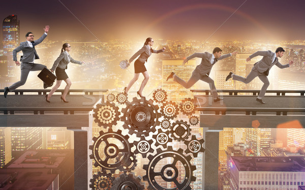 Business people crossing the bridge with cogwheels Stock photo © Elnur