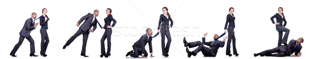 Office conflict between man and woman isolated on white Stock photo © Elnur