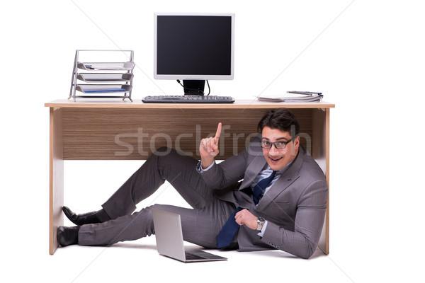 Empresario ocultación hombre mesa triste Trabajo Foto stock © Elnur