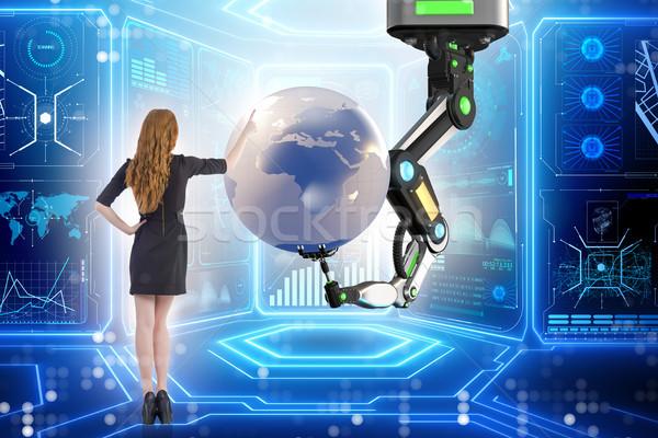 Empresária futurista global de negócios mulher globo mundo Foto stock © Elnur