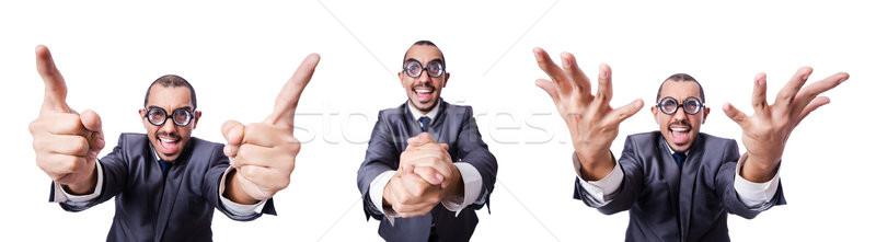 Funny nerd biznesmen odizolowany biały pracy Zdjęcia stock © Elnur