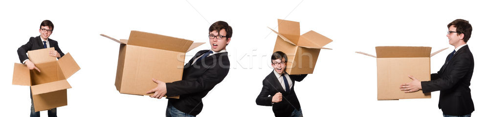 The funny man with boxes isolated on white Stock photo © Elnur