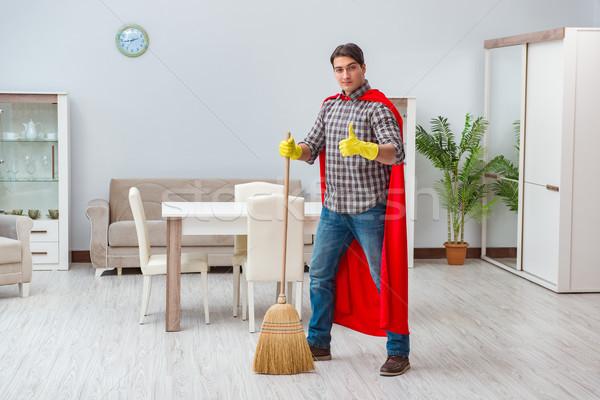 Szuperhős takarító dolgozik otthon férfi munka Stock fotó © Elnur