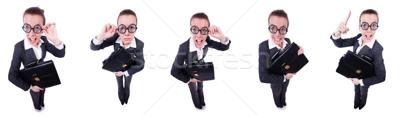 Funny businesswoman isolated on white Stock photo © Elnur