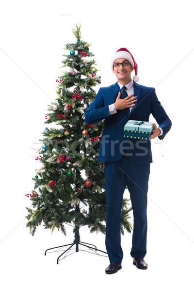üzletember karácsonyfa izolált fehér iroda buli Stock fotó © Elnur