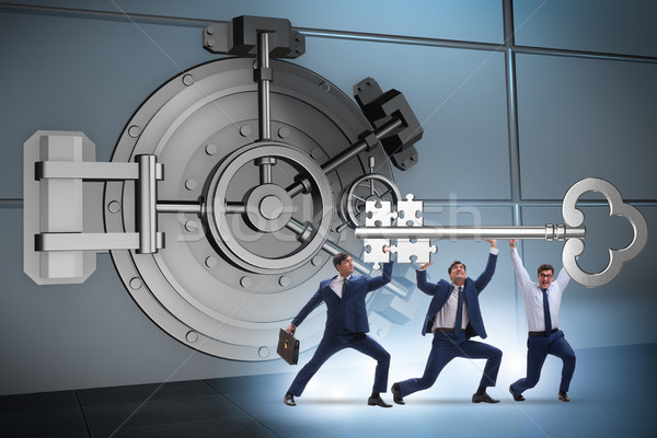 üzletember kulcs bank agykoponya ajtó férfi Stock fotó © Elnur