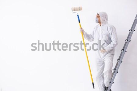 Zdjęcia stock: Chemik · pracy · trujący · odizolowany · biały · powrót