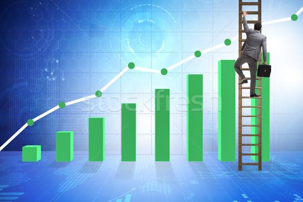 üzletember mászik növekedés statisztika üzlet férfi Stock fotó © Elnur