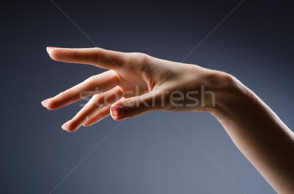 Foto stock: Mulher · mãos · gradiente · corpo · pintar · saúde