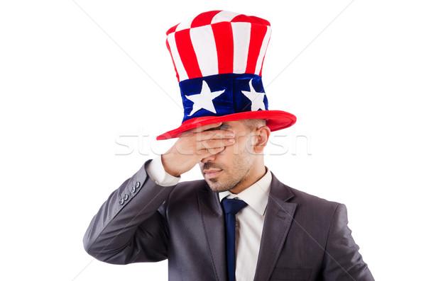 Сток-фото: человека · американский · Hat · белый · работу