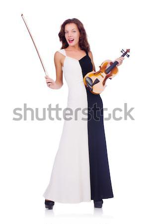 Foto stock: Jóvenes · violín · jugador · aislado · blanco · mujer
