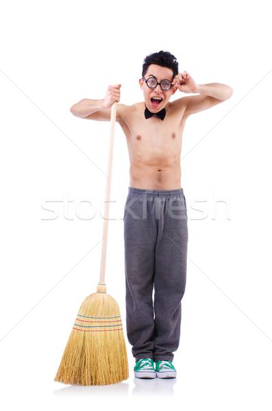 Engraçado homem vassoura branco casa sorrir Foto stock © Elnur