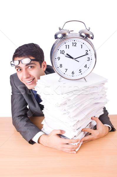 Сток-фото: женщину · бизнесмен · гигант · будильник · часы · работу