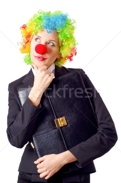 Vrouw clown business pak partij zakenman Stockfoto © Elnur
