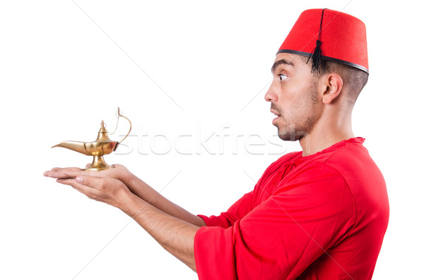 Turkish man with lamp on white Stock photo © Elnur