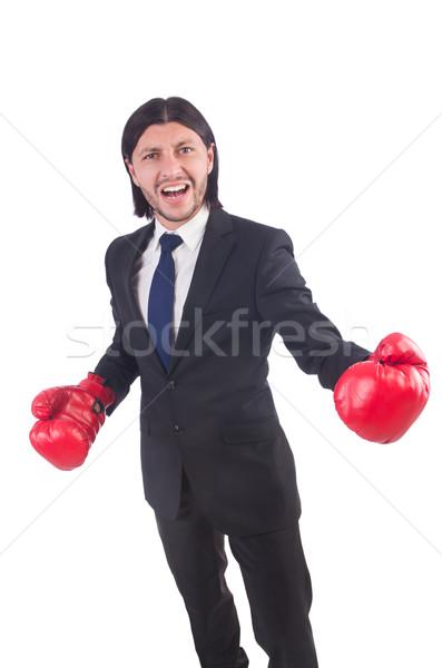 ストックフォト: ビジネスマン · ボクシンググローブ · 白 · ビジネス · オフィス · 手