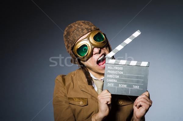 Funny piloto gafas de protección casco hombre película Foto stock © Elnur